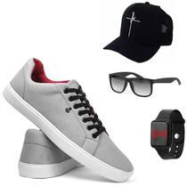 tenis casual masculino +Boné fé +óculos moderno +Relógio digital / tamanho: 42 (CINZA) - THÉO SHOES