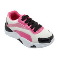 Tenis chunky fem branco/pink - Pé com pé