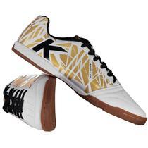 Tênis de Futsal Kelme Subito - Branco e dourado -