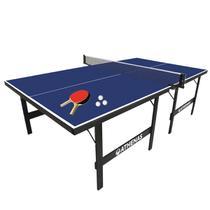 Tênis de Mesa Ping Pong Athenas 15 mm MDF Pés Dobráveis + Kit Raquetes, Bolinhas e Rede -