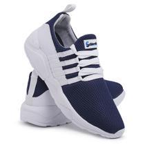 Tênis Esportivo Em Nylon Schiareli 490 Azul Marinho Com Branco -