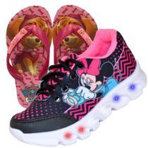Tenis Feminino De Led Infantil Minnie Mouse Disney Chinelo - Vick Kids