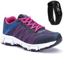 Tênis Feminino Esportivo com Cadarço Azul e Pink e Relógio - Piaceri/Sapatore