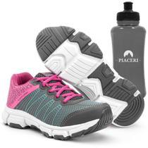 Tênis Feminino Esportivo com Cadarço Grafite e Pink e Squeeze - Piaceri/Sapatore