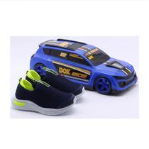 Tênis infantil dok racer + carrinho confortável macio -