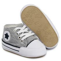 Tenis Infantil linha Baby sapatinho Bebê Menino Cinza jeans - Master Tênis