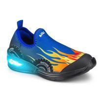 Tênis Infantil Menino Bibi De Luz Space Azul Estampado de Carro - Calçados Bibi