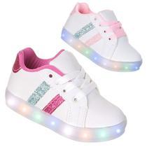 Tenis Led Luz Pisca Criança Infantil Feminino Branco Rosa ou Pink - Pc