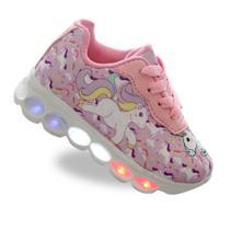 Tenis LED luzinha infantil unicornio feminino - Pemania