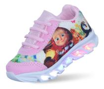 Tenis Led Masha e o urso para meninas com luzes coloridas - Pc