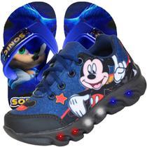 Tenis Masculino De Led Infantil Mickey Mouse Disney Chinelo - Vick Kids