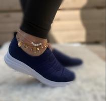 Tenis meia calce facil slip on skeaker elastico conforto casual macio sapatenis cadarço bordado - Tenis Meia Shoes Calce Facil