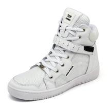 Tenis Sneaker Top Fitness Cano Alto Em Couro Branco -