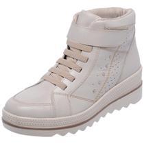 Tênis Sneakers Miuzzi Couro Feminino Cano Alto Moderno -