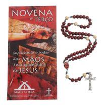 Terço Com folheto da Novena das Mãos Ensanguentadas de Jesus - FORNECEDOR 13