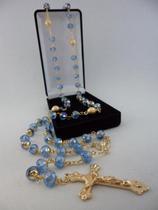 Terço cristal aust. azul claro 8x6mm - p.n. dourado - folh. ouro - Armazem