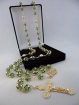Terço cristal tcheco jablonex verde 8mm esp. - p.n. dourado - folh. ouro - Armazem
