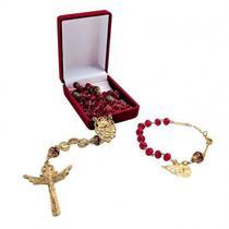 Terço das mãos ensanguentadas de jesus folheado a ouro - Armazem