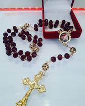 Terço de cristal jesus misericordioso e santa faustina folheado a ouro - Fornecedor 10