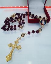 Terço de cristal jesus misericordioso folheado a ouro - Armazem