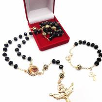 Terço de cristal santo antônio folheado a ouro - Armazem
