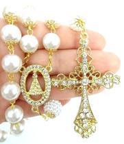 Terço De Noiva Dourado Perolas Brancas Aparecida - Evangelize