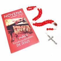 Terço E Novena Das Mãos Ensanguentadas De Jesus Acrilico Vermelho - FORNECEDOR 6