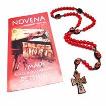 Terço E Novena Das Mãos Ensanguentadas De Jesus Madeira Vermelha - FORNECEDOR 6