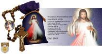 Terço jesus misericordioso madeira com saquinho de tecido - Fornecedor 2