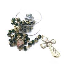 Terço Padre Pio De Cristal Facetado Verde - FORNECEDOR 11