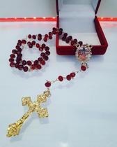 Terço paixão de jesus cristo de cristais facetado - Armazem