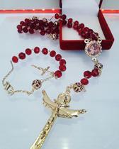 Terço sagrada familia de cristais facetados - Armazem