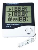 Termo-higrômetro Digital Termômetro E Higrômetro De Máxima E Mínima Com Relógio E Despertador HTC1 - Exbom