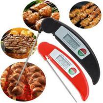 Termômetro Digital Culinário Cozinha Dobrável Alta Precisão Padaria Confeitaria Alimentos - Vermelho - Xtrad