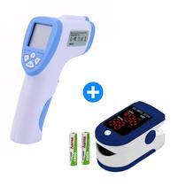 Termômetro Digital Medição Oxigênio Temperatura Febre Líquidos + Oximetro Digital Dedo  Premium - Boas