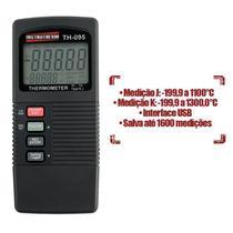 Termômetro Digital Portátil Tipo K e J c/ Saída RS-232 e Datalogger  Mod TH-095 - Instrutherm