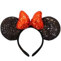 Tiara Laço Vermelho Orelhas Minnie Lantejoulas - Disney - Taimes