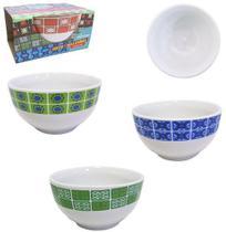 Tigela De Porcelana Redonda Bowl Azulejo Sortidos 500Ml - Sao Francisco -