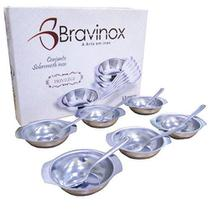Tigela de Sobremesa Inox com 12 Peças - Ref. 1050 - Bravinox