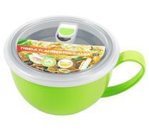 Tigela para alimentos 1100ml inox alça Verde Jacki Design -