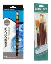 Tinta Aquarela 12 Cores + Kit 7 Pincel - Pixel Art Books
