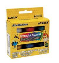 Tinta Guache Glitter 06 Cores Acrilex 15ml -
