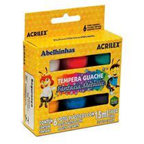 Tinta Guache Metallic 06 Cores 15ml Acrilex -