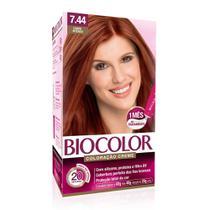 Tintura Biocolor Kit Creme Louro Médio Acobreado 7.44 -