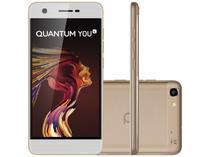 """Smartphone Quantum You Light 32GB Dourado - Dual Chip 4G Câm. 13MP + Frontal 8MP 5"""" Quad Core"""