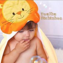 Toalha Banho Felpuda Enxoval Bebê com Capuz Bordado Leãozinho - Papi