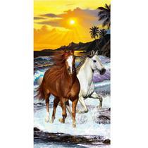 Toalha De Banho E Praia Cavalos Aveludada 0,76x1,52m Buettner -
