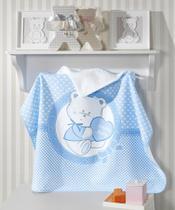 Toalha de Banho P/ Bebê - Estampada - Happy Baby - Azul - C/ Capuz - Dohler -