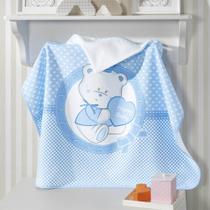Toalha de Banho para Bebê com Capuz Dohler Happy Baby Azul -
