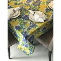 Toalha de Mesa em Gorgurinho Floral Amarelo, Azul e Verde -